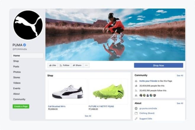 Puma-Facebook-Shop-profile